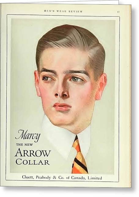White Shirt Greeting Cards - Vintage Arrow Shirts Advert Greeting Card by Nomad Art And  Design