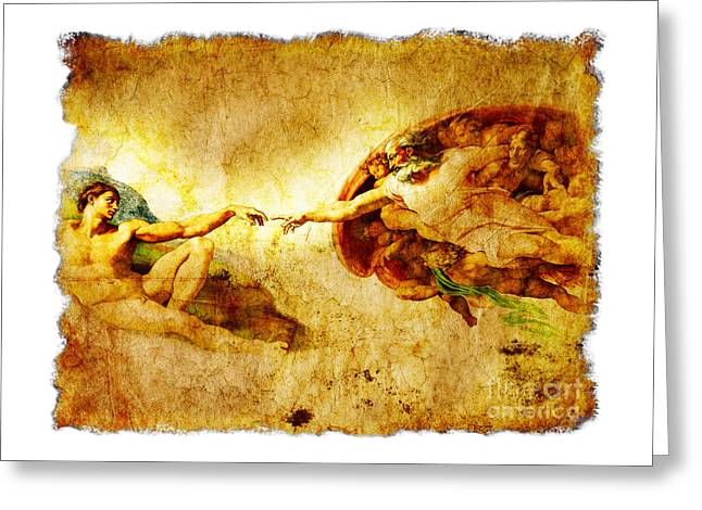 Vintage Art - The Creation Of Adam Greeting Card by Stefano Senise
