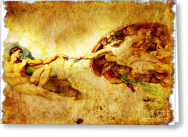 Chapel Mixed Media Greeting Cards - Vintage art - the Creation of Adam Greeting Card by Stefano Senise