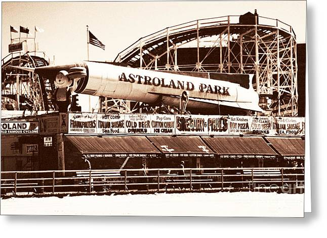 Wooden Coaster Greeting Cards - Vintage Astroland Park Greeting Card by John Rizzuto