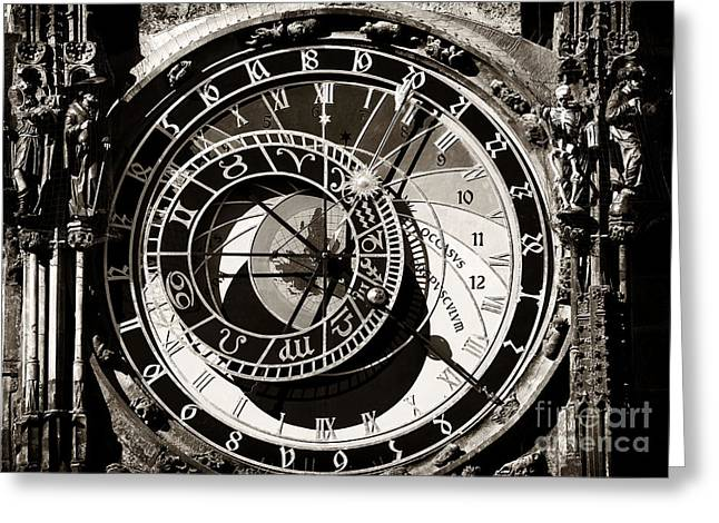 Astronomical Clock Greeting Cards - Vintage Astronomical Clock Greeting Card by John Rizzuto