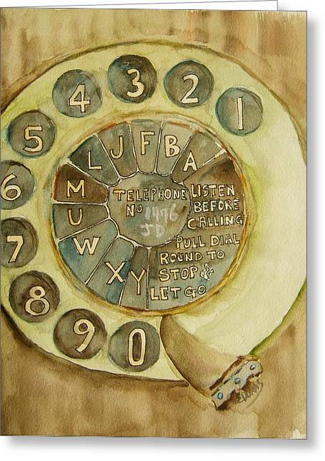 Dialing Greeting Cards - Vintage Aussie Rotary Greeting Card by Elaine Duras