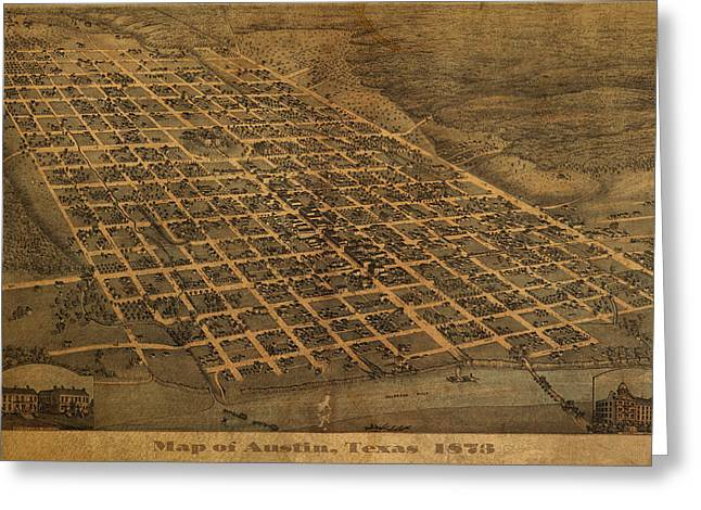 Vintage Austin Texas In 1873 City Map On Worn Canvas Greeting Card by Design Turnpike