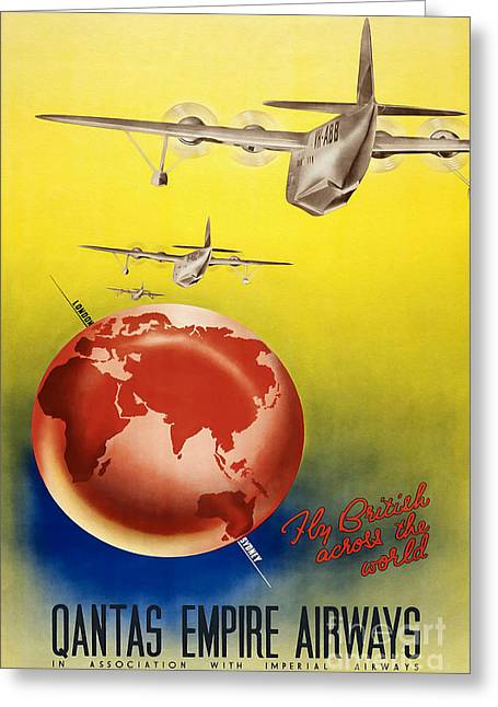 Vintage Airplane Greeting Cards - Vintage Australia Travel Poster Greeting Card by Jon Neidert