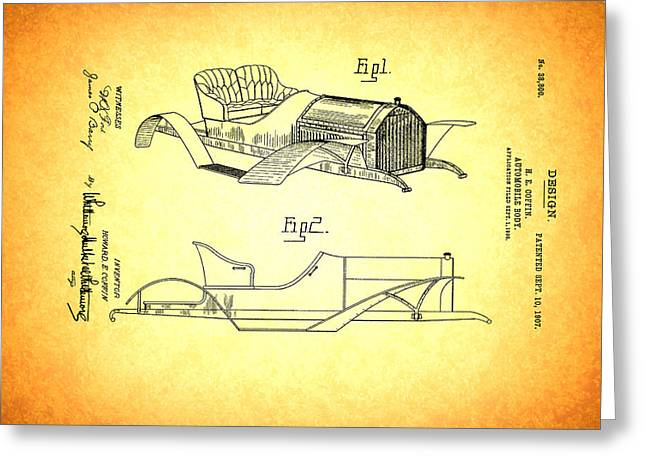 1907 Drawings Greeting Cards - Vintage Auto Body Design Patent 1907 Greeting Card by Mountain Dreams