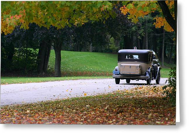 Vintage Auto On The Road Again Greeting Card by Kay Novy