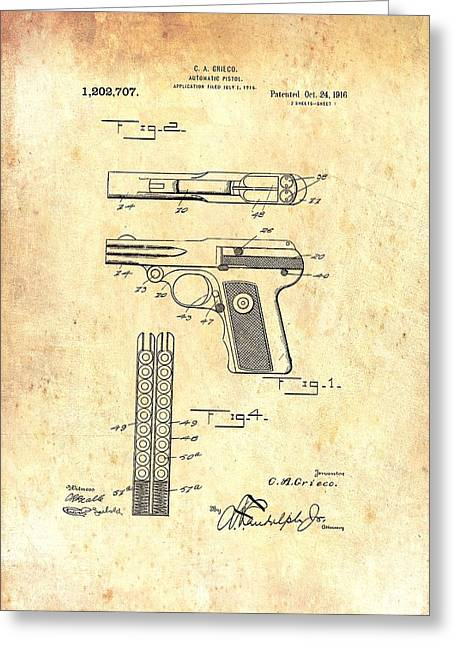Pistol Drawings Greeting Cards - Vintage Automatic Pistol Patent Greeting Card by Mountain Dreams