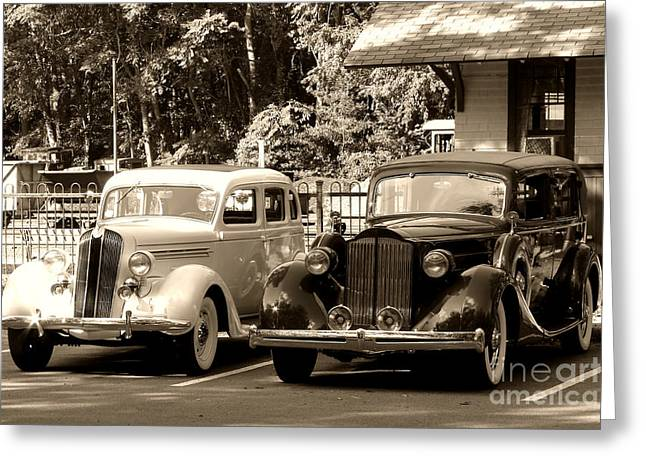 Duotone Greeting Cards - Vintage Automobiles at a Train Station Greeting Card by Olivier Le Queinec