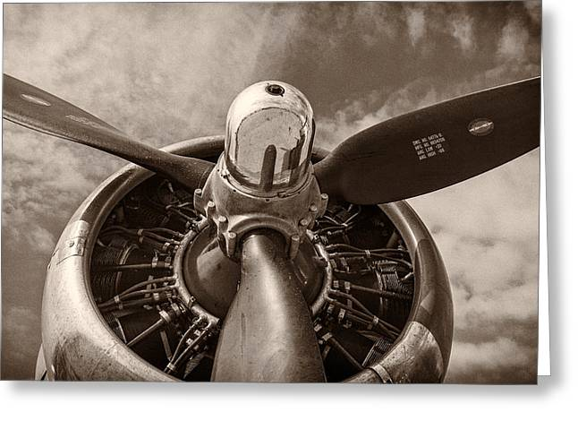 Sepia Greeting Cards - Vintage B-17 Greeting Card by Adam Romanowicz