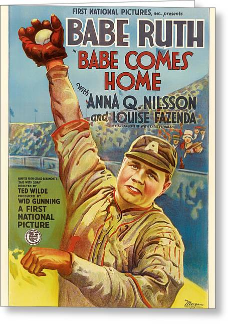 Babe Ruth Posters Greeting Cards - Vintage Babe Comes Home Movie Poster Greeting Card by Mountain Dreams
