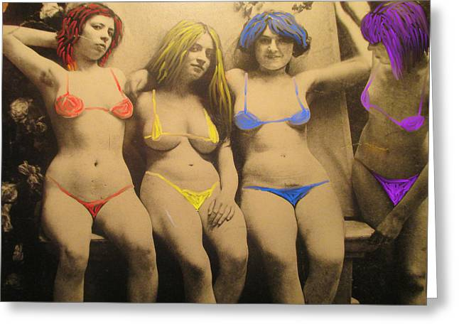Swimsuit Photo Greeting Cards - Vintage Babes with Swimsuits Painted On Greeting Card by David Lovins