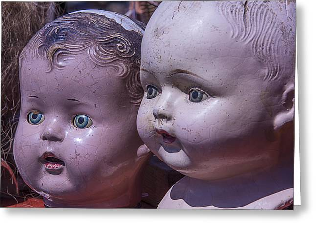 Flea Greeting Cards - Vintage Baby Doll Heads Greeting Card by Garry Gay