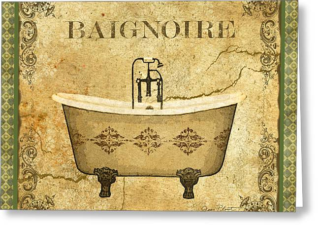 Recently Sold -  - Powder Greeting Cards - Vintage Baignoire Greeting Card by Jean Plout