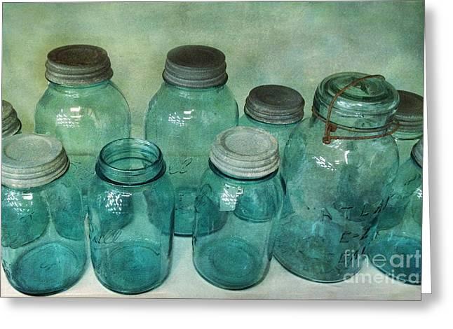 Vintage Ball Jars Shabby Chic Cottage Aqua Blue Ball Jars Print Greeting Card by Kathy Fornal