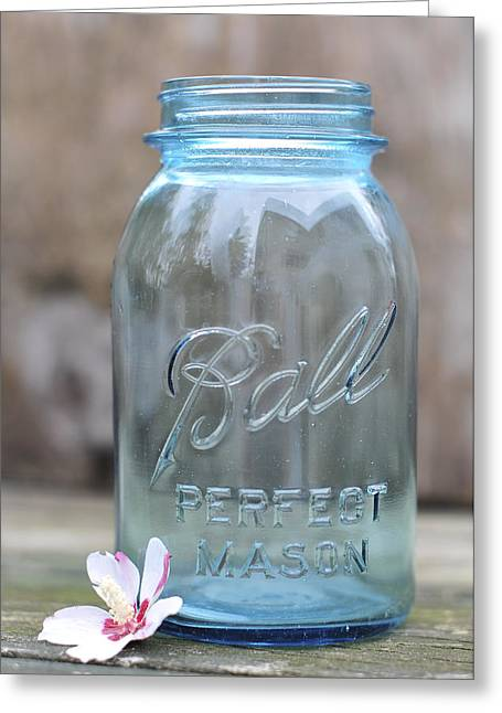 Blue Jar Greeting Cards - Vintage Ball Mason Blue Greeting Card by Terry DeLuco