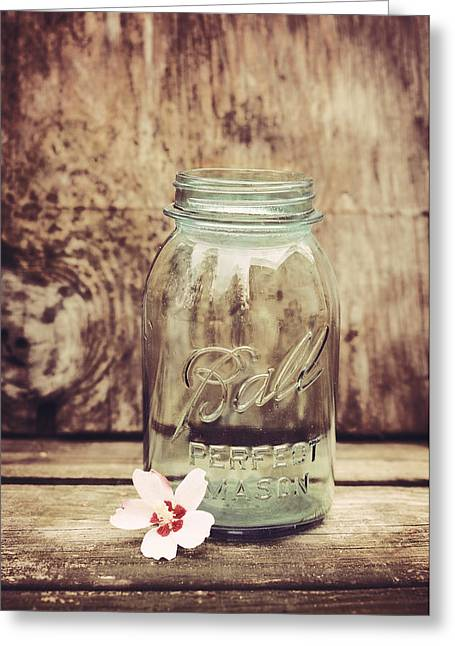 Bridal Shower Greeting Cards - Vintage Ball Mason Jar Greeting Card by Terry DeLuco