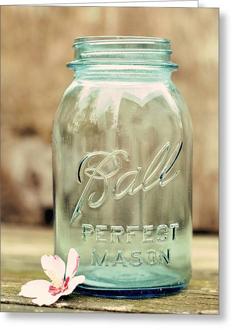 Blue Jar Greeting Cards - Vintage Ball Mason  Greeting Card by Terry DeLuco