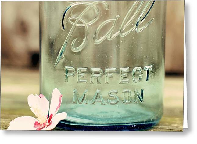 Blue Jar Greeting Cards - Vintage Ball Perfect Mason Greeting Card by Terry DeLuco