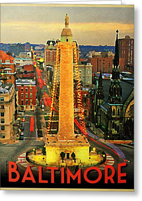Maryland Greeting Cards - Vintage Baltimore At Dusk Greeting Card by Flo Karp