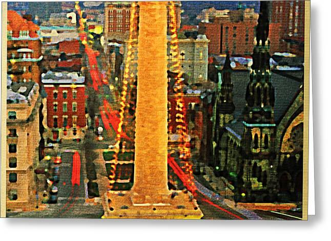 Vintage Baltimore At Dusk Greeting Card by Flo Karp