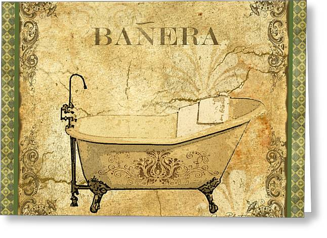 Recently Sold -  - Powder Greeting Cards - Vintage Banera Greeting Card by Jean Plout