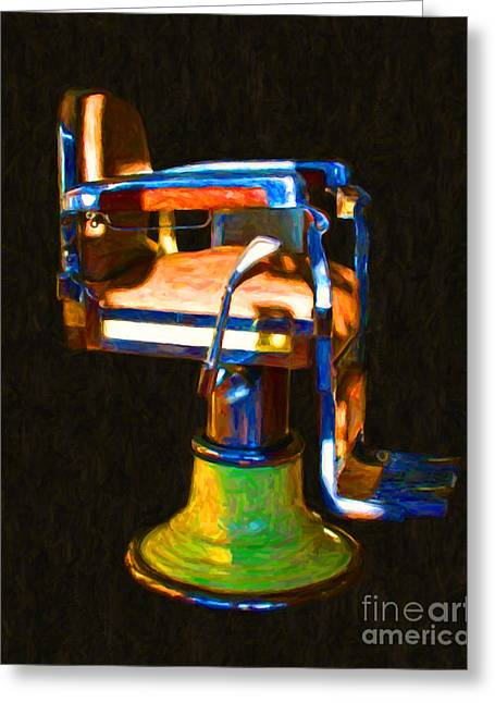 Barber Chair Greeting Cards - Vintage Barber Chair - 20130119 - v1 Greeting Card by Wingsdomain Art and Photography