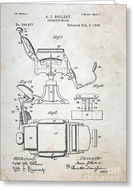 Vintage Barber Chair Patent Greeting Card by Paul Ward