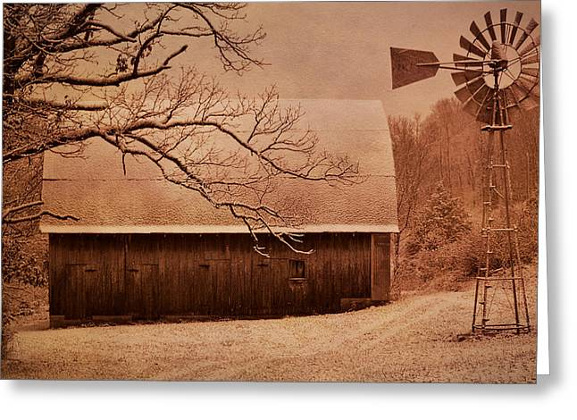 Mo Ranch Greeting Cards - Vintage Barn And Windmill Winter Greeting Card by Deena Stoddard