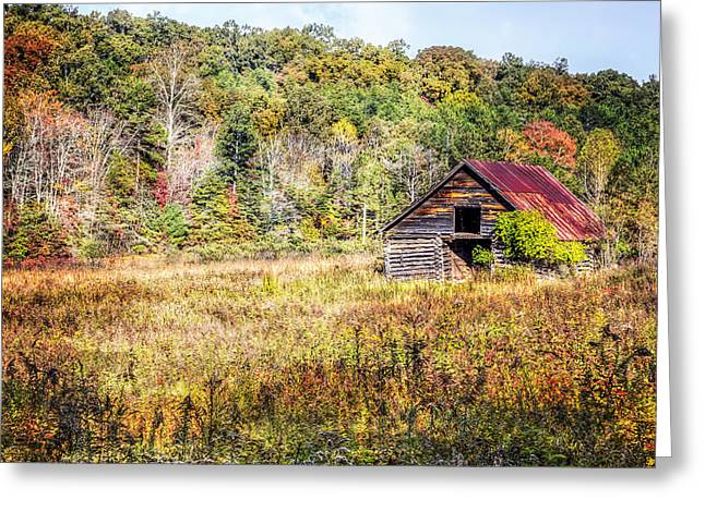 Red Roofed Barn Greeting Cards - Vintage Barn Greeting Card by Debra and Dave Vanderlaan