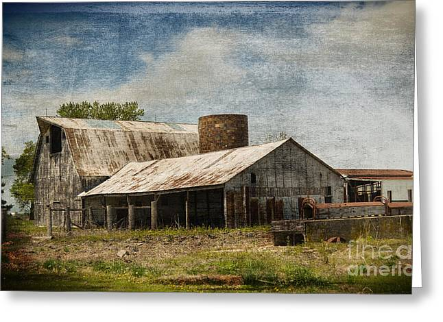 Wooden Building Greeting Cards - Barn -Vintage Barn with Brick Silo - Luther Fine Art Greeting Card by Luther   Fine Art