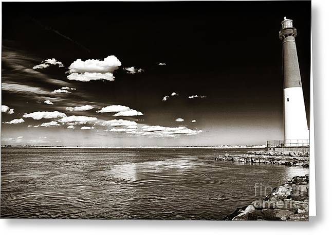 Vintage Barnegat Lighthouse Greeting Card by John Rizzuto