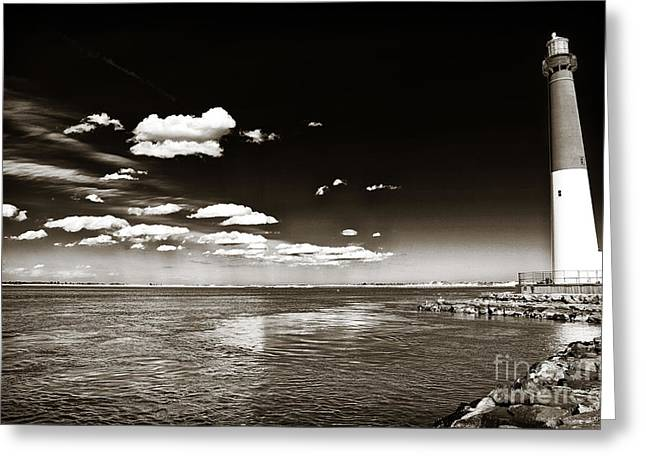 Long Beach Island Greeting Cards - Vintage Barnegat Lighthouse Greeting Card by John Rizzuto