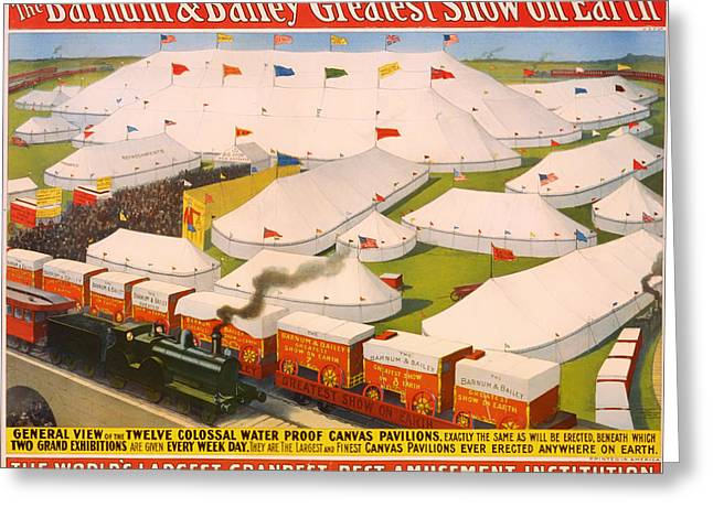 Signed Drawings Greeting Cards - Vintage Barnum and Bailey Poster Greeting Card by Mountain Dreams