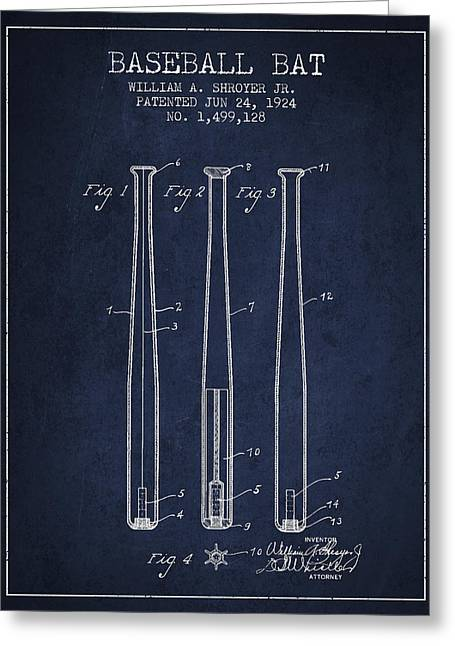 Baseball Bat Greeting Cards - Vintage Baseball Bat Patent from 1924 Greeting Card by Aged Pixel