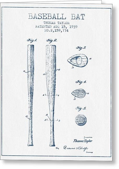 Baseball Glove Greeting Cards - Vintage Baseball Bat Patent from 1939 - Blue Ink Greeting Card by Aged Pixel