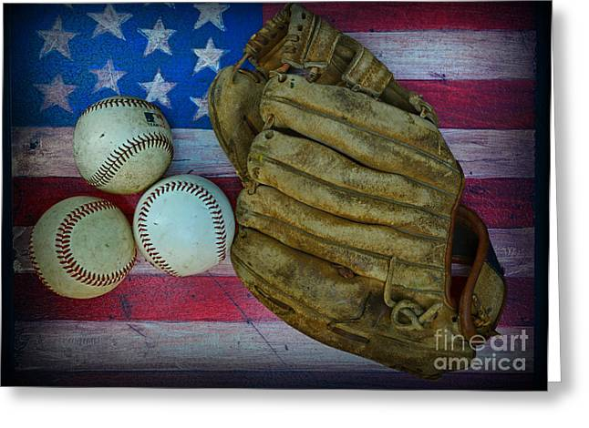 Baseball Art Greeting Cards - Vintage Baseball Glove and Baseballs on American Flag Greeting Card by Paul Ward