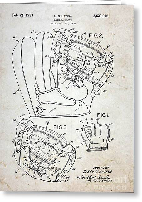 Vintage Baseball Glove Patent Greeting Card by Paul Ward