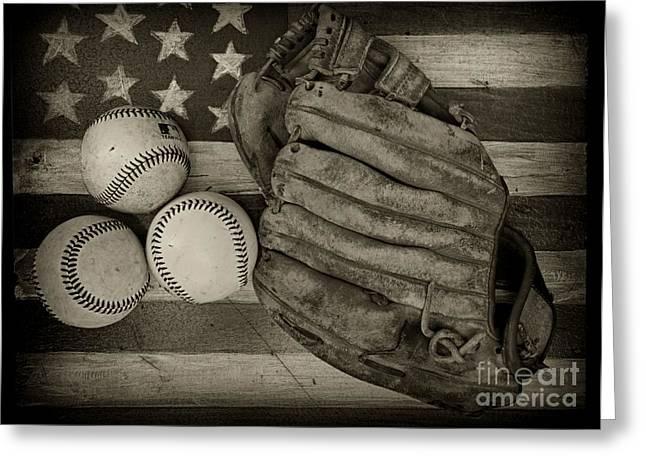 Baseball Glove Greeting Cards - Vintage Baseball Glove Greeting Card by Paul Ward
