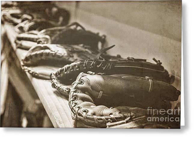Baseball Glove Greeting Cards - Vintage Baseball Gloves Greeting Card by K Hines