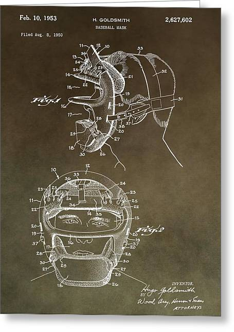Pitcher Mixed Media Greeting Cards - Vintage Baseball Mask Patent Greeting Card by Dan Sproul
