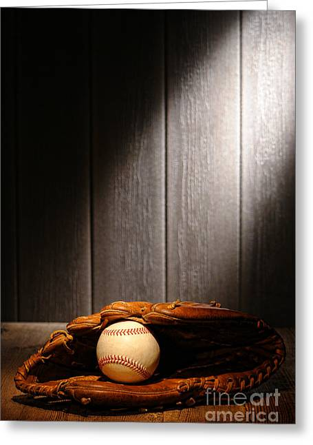 Dugout Greeting Cards - Vintage Baseball Greeting Card by Olivier Le Queinec