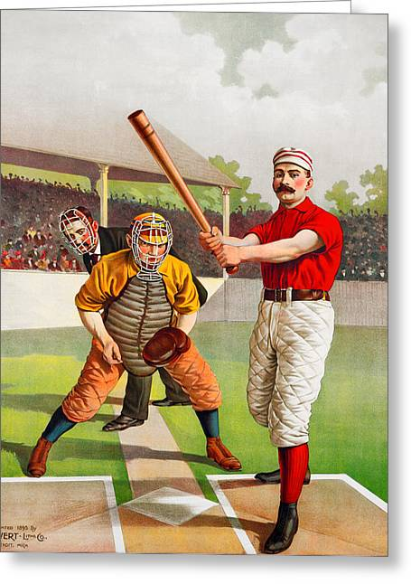 Pastimes Greeting Cards - Vintage Baseball Print Greeting Card by Big 88 Artworks