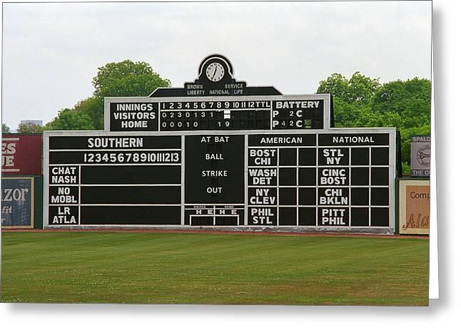 Vintage Baseball Scoreboard Greeting Card by Frank Romeo