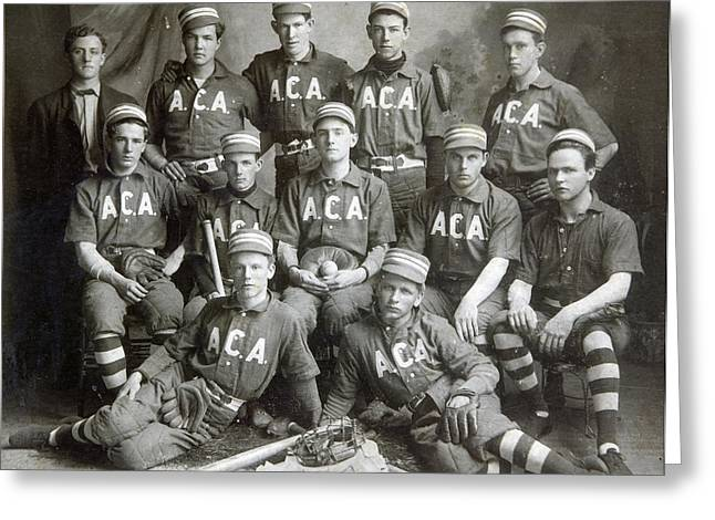 Vintage Baseball Team Greeting Card by Russell Shively