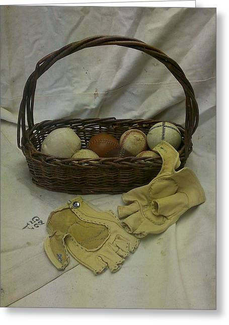 Basket Ball Greeting Cards - Vintage Baseballs and Home-made Gloves 1879 Greeting Card by Kathy Barney