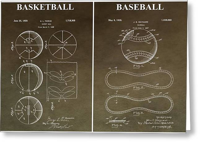 Slamdunk Greeting Cards - Vintage Basketball Baseball Patent Greeting Card by Dan Sproul