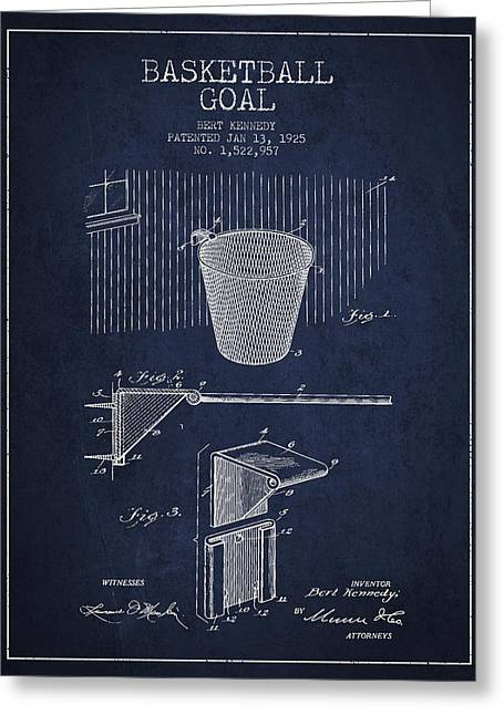 Nba Art Greeting Cards - Vintage Basketball Goal patent from 1925 Greeting Card by Aged Pixel