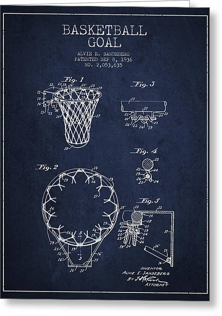 Hoop Greeting Cards - Vintage Basketball Goal patent from 1936 Greeting Card by Aged Pixel