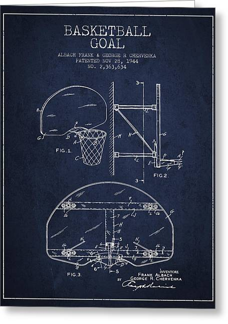 Dunk Greeting Cards - Vintage Basketball Goal patent from 1944 Greeting Card by Aged Pixel