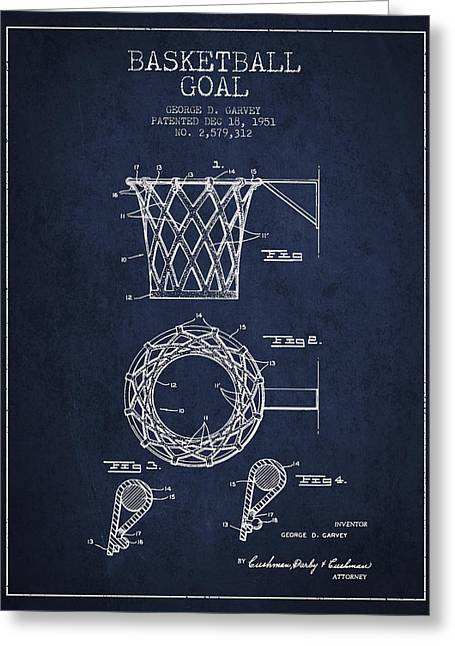 Dunk Greeting Cards - Vintage Basketball Goal patent from 1951 Greeting Card by Aged Pixel